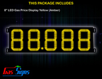 Gas Price LED Sign 8 inch - 88.888 Yellow Sign