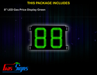 Gas Price LED Sign 8 inch - 88 Green Sign