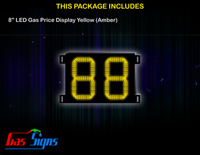 Gas Price LED Sign 8 inch - 88 Yellow Sign