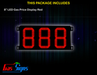 Gas Price LED Sign 8 inch - 888 Red Sign