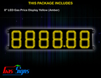 Gas Price LED Sign 8 inch - 8888.88 Yellow Sign
