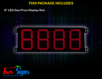 Gas Price LED Sign 8 inch - 8888 Red Sign