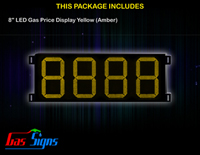 Gas Price LED Sign 8 inch - 8888 Yellow Sign