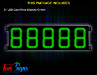 Gas Price LED Sign 8 inch - 88888 Green Sign
