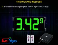 Gas Price LED Sign (Digital) 8 Inch Green with 3 Large Digits & 1 small digit - Complete Package w/ RF Remote Control