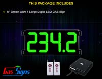 Gas Price LED Sign (Digital) 8 Inch Green with 4 Large Digits