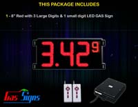 Gas Price LED Sign (Digital) 8 Inch Red with 3 Large Digits & 1 small digit - Complete Package w/ RF Remote Control