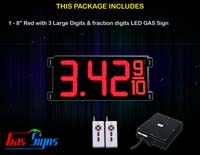 Gas Price LED Sign (Digital) 8 Inch Red with 3 Large Digits & fraction digits