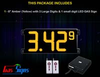 Gas Price LED Sign (Digital) 8 Inch Amber (Yellow) with 3 Large Digits & 1 small digit - Complete Package w/ RF Remote Control