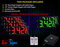 "LED Gas Price Display 10 inch - 28""x13""- 4 Red & 2 Green Digital GAS Signs - Complete Package w/ RF Remote Control"