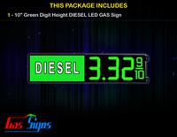 Gas Price LED Sign 10 Inch DIESEL - Green LEDs with 3 Large Digits and fraction digits