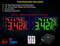 "Gas Price LED Sign 12 inch - 33""x15""- 2 Red & 2 Green Digital Gasoline Signs - Complete Package w/ RF Remote Control"