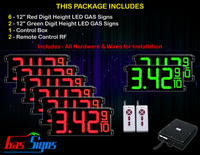 "Gas Price LED Sign 12 inch - 33""x15""- 6 Red & 2 Green Digital Gasoline Signs - Complete Package w/ RF Remote Control"