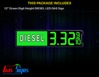 Gas Price LED Sign 12 Inch DIESEL - Green LEDs with 3 Large Digits and fraction digits