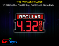 Gas Price LED Sign 12 Inch REGULAR - Red LEDs with 3 Large Digits & fraction digits - Top Section lighted