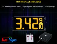 Gas Price LED Sign (Digital) 12 Inch Amber (Yellow) with 3 Large Digits & fraction digits