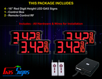 "LED Gas Price Display 16 inch - 42""x19""- 4 Red Digital Gasoline Signs - Complete Package w/ RF Remote Control"