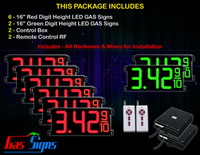 "LED Gas Price Display 16 inch - 42""x19""- 6 Red & 2 Green Digital Gasoline Signs - Complete Package w/ RF Remote Control"