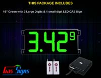 Gas Price LED Sign (Digital) 16 Inch Green with 3 Large Digits & 1 small digit - Complete Package w/ RF Remote Control