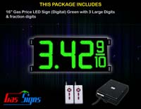 Gas Price LED Sign (Digital) 16 Inch Green with 3 Large Digits & fraction digits