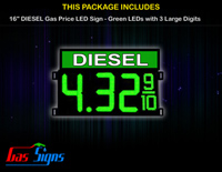 Gas Price LED Sign 16 Inch DIESEL - Green LEDs with 3 Large Digits & fraction digits