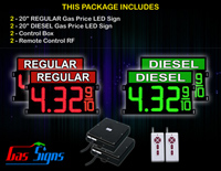 Gas Price Sign 20 inch - 2 Red REGULAR & 2 Green DIESEL Digital Gasoline Signs - Complete Package w/ RF Remote Control