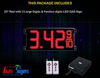 Gas Price LED Sign (Digital) 20 Inch Red with 3 Large Digits & fraction digits
