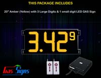 Gas Price LED Sign (Digital) 20 Inch Amber (Yellow) with 3 Large Digits & 1 small digit - Complete Package w/ RF Remote Control