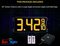 Gas Price LED Sign (Digital) 20 Inch Amber (Yellow) with 3 Large Digits & fraction digits