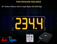 Gas Price LED Sign (Digital) 20 Inch Amber (Yellow) with 4 Large Digits
