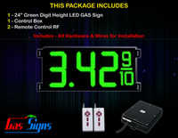 "Gas Price LED Sign 24 inch - 65""x27""- 1 Green Digital Gasoline Signs - Complete Package w/ RF Remote Control"