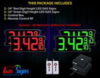"Gas Price LED Sign 24 inch - 65""x27""- 2 Red & 2 Green Digital Gasoline Signs - Complete Package w/ RF Remote Control"