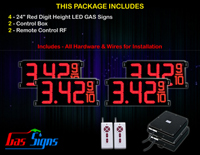 "Gas Price LED Sign 24 inch - 65""x27""- 4 Red Digital Gasoline Signs - Complete Package w/ RF Remote Control"