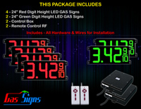 "Gas Price LED Sign 24 inch - 65""x27""- 4 Red & 2 Green Digital Gasoline Signs - Complete Package w/ RF Remote Control"