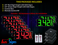 "Gas Price LED Sign 24 inch - 65""x27""- 6 Red & 2 Green Digital Gasoline Signs - Complete Package w/ RF Remote Control"