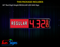 Gas Price LED Sign 24 Inch REGULAR - Red LEDs with 3 Large Digits and fraction digits - Lighted Section to the left