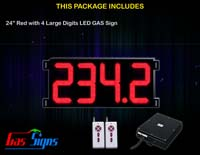 Gas Price LED Sign (Digital) 24 Inch Red with 4 Large Digits