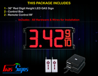 Gas LED Price Sign 36 inch - 1 Red Digital Gasoline Signs - Complete Package w/ RF Remote Control