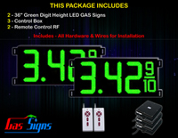 Gas LED Price Sign 36 inch - 2 Green Digital Gasoline Signs - Complete Package w/ RF Remote Control
