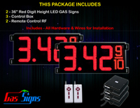 Gas LED Price Sign 36 inch - 2 Red Digital Gasoline Signs - Complete Package w/ RF Remote Control