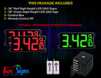 Gas LED Price Sign 36 inch - 2 Red & 1 Green Digital Gasoline Signs - Complete Package w/ RF Remote Control