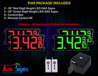 Gas LED Price Sign 36 inch - 2 Red & 2 Green Digital Gasoline Signs - Complete Package w/ RF Remote Control