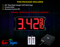 Gas LED Price Sign 60 inch - 1 Red Digital Gasoline Signs - Complete Package w/ RF Remote Control