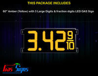 Gas Price LED Sign 60 Inch (Digital) Amber (Yellow) with 3 Large Digits & fraction digits