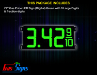 Gas Price LED Sign 72 Inch (Digital) Green with 3 Large Digits & fraction digits