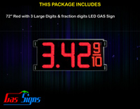Gas Price LED Sign 72 Inch (Digital) Red with 3 Large Digits & fraction digits