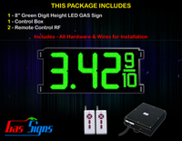 "Gas Price LED Sign 8 inch - 26""x11""- 1 Green Digital Gasoline Signs - Complete Package w/ RF Remote Control"