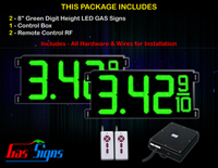"Gas Price LED Sign 8 inch - 26""x11""- 2 Green Digital Gasoline Signs - Complete Package w/ RF Remote Control"