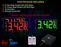 "Gas Price LED Sign 8 inch - 26""x11""- 2 Red & 1 Green Digital Gasoline Signs - Complete Package w/ RF Remote Control"