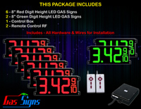 "Gas Price LED Sign 8 inch - 26""x11""- 6 Red & 2 Green Digital Gasoline Signs - Complete Package w/ RF Remote Control"